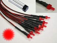 S878 - 10 Stück Blink Tower LEDs 2mm rot diffus LED mit Kabel für 12-19V Flash