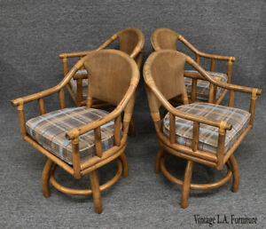 Set of Four Vintage Mid Century Modern Bamboo Rattan Swivel Armchairs