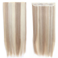 Sandy blonde& Blonde New Real Half Full Head Clip in Hair Extensions Straight US