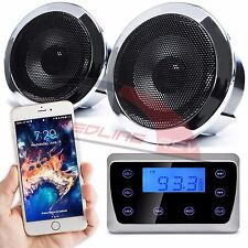 Bluetooth Chrome Motorcycle Audio Stereo Speakers System MP3 FM Radio USB Harley