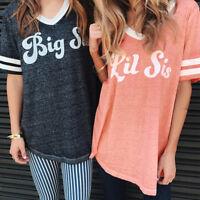 Fashion Women Girls Sister Blouse T-Shirt Short Sleeve Casual Tee Tops GIFT