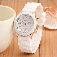 New Women's Casual Dress Geneva Quartz Silicone Rubber Jelly Band Watch - White