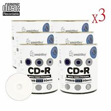 1800 Smartbuy CD-R CDR 52X Blank Record Disc With White Inkjet Printable Media
