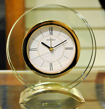 SEIKO Round Glass and Gold Finish Mantel Clock with Alarm QHE057G