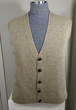 Brooks Brothers 100% Shetland Wool Beige Vneck Button Sweater Vest M Golf Mens