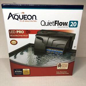 AQUEON QUIET FLOW 20 POWER FILTER FOR AQUARIUMS. LED PRO 125 GPH NEW
