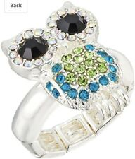 New Betsey Johnson Pave Owl Stretchable Ring Crystals Silver Size 7 Retails $55