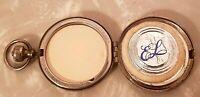 Vintage ESTEE LAUDER Pocket Watch Style Silver Tone Compact Powder & Mirror