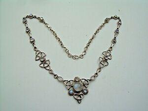 Vintage Silver Art Nouveau Style Natural Moonstone Necklace.