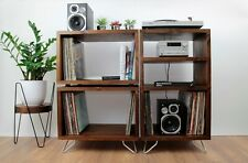 Rustic Industrial Record Player Stand - Storage Record Cabinet-Stereo Stand