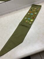 1950's - 60's Boy Scout Merit Badge Sash W/21 Merit Badges