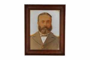 A small antique English portrait painting of a gentleman in uniform Framed