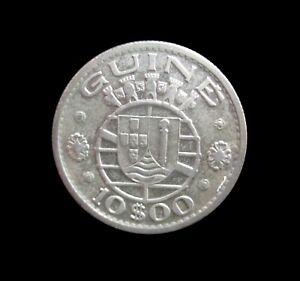 PORTUGUESE GUINEA BISSAU 10 ESCUDOS 1952 SILVER KM 10 #4593#