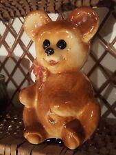 Vintage Royal Copley Brown 6.5 tall Teddy Bear Figurine Planter Vase PERFECT!