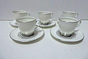 ROYAL DOULTON CHINA PORCELAIN ART DECO SET 5 ROYALTY DEMI TASSE CUPS & SAUCERS
