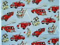 Rare Firefighters Fire Engine quilt fabric 1 yd. Alexander Henry first responder
