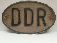 Vintage DDR SHIELD pressed Country Identification plate 24 x 14,3cm used patina