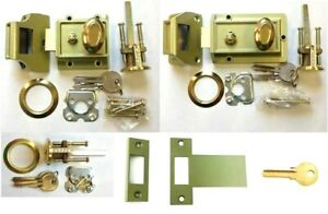 Replacement  Rim NIGHTLATCH Door Lock - Brass Cylinder - Open Out Plates