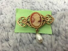 Cameo Portrait Red With Gold Toned And Pearl Pin Brooch