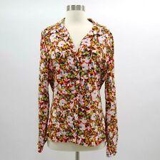 DvF Blouse Shirt Top Womens 100% Silk NEW Sz 10 Floral Red Pink High Low Hem