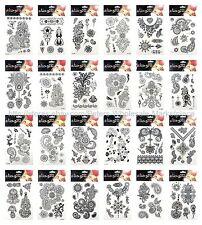 US SELLER, 20 sheets black henna lace temporary tattoo fake realistic tattoos