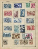 FRANCE Stamps on 2 Sides of an Old Stamp Album Page Including Old Taxe Stamps