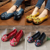 SOCOFY Womens Leather Loafers Flower Soft Flats Shoes Slip On Ethnic Anti-slip