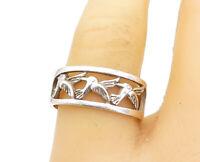 925 Sterling Silver - Vintage Triple Hummingbird Motif Band Ring Sz 8 - R17492