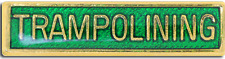 Trampolining Bar Pin Badge in Green Enamel