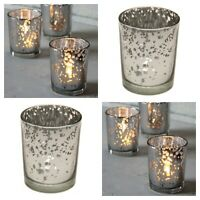 Silver Speckle Tea Light Votive Candle Holder 6.5cm x 5.5cm Glass -Choose amount