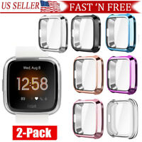 For Fitbit Versa Lite Silicone TPU Shell Case Screen Protector Frame Cover 2Pack