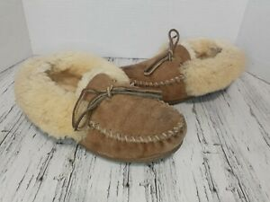 VTG LL Bean Womens 8 Fleece Lined Slippers Leather Suede Rubber Sole Camp Loafer