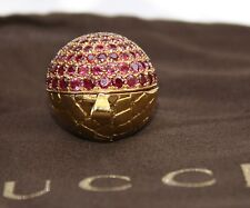 MAGNIFICENT BRAND NEW 18K GOLD RUBY GUCCI BALL NECKLACE WITH  BAG & BOX