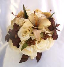 17 pcs Wedding Bridal Bouquet Bride Decoration Flowers Package IVORY BROWN CREAM