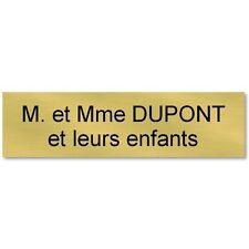 plaque etiquette autocollante boite aux lettres personnalisée 93x25 or et noir