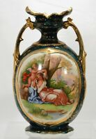 Empire Works England Cupid & Woman Vase Gilded Green Gold Double Handled