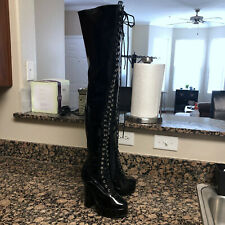 "PLEASER Sz 6 M Boots Thigh High Black 5"" Heel Zip Lace Up Platform w/ Defects"