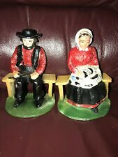 """*VINTAGE SET CAST IRON AMISH MAN AND WOMAN BOOKENDS - 5"""""""
