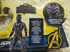 Black Panther Costume Boy's Small LIGHT UP MASK Purple Black Muscle New 1385