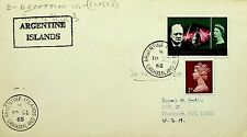 BRITISH ANTARCTIC TERR. 1968 CHURCHILL QE II 3v COVER TO USA W/ARGENTINE ISLANDS