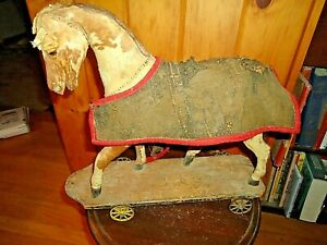 Real Early Large Horse With Blanket On Platform w/ Wheels Pull Toy-Early 1900's