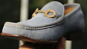 Salvatore Ferragamo  Man's Light  Blue Suede  Loafers shoes Brand size 7.5 D