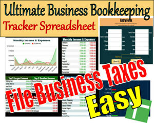Ultimate Business Bookkeeping Tracker Spreadsheet Download With Tax Filing Form