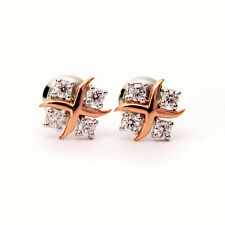 Round Diamond Designer Earrings Crafted in Platinum and Rose gold