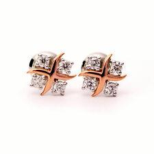 Ronda Diamante Pendientes de diseño hecha a mano en oro rosa y Platino