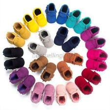Baby Soft Sole Suede Leather Shoes Toddler Infant Boy Girl Tassel Moccasin 0-18M