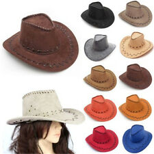 New Cowboy Hat Suede Look Wild West Fancy Dress Mens Womens Cowgirl Unisex Hats