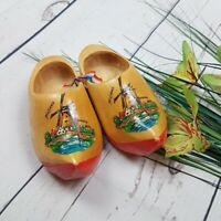 Holland Dutch Wooden Wood Souvenir Hand-Made Shoes Windmill Tulips Painted Red
