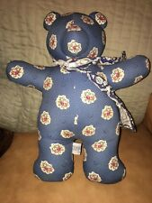 "Pierre Deux French Country Decorative Stuffed Bear Blue Red White Tag 14"" Tall"
