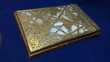 ANTIQUE TIFFANY STUDIOS NOTE PAD GILDED BRONZE GRAPES & LEAVES AMBER SLAG GLASS